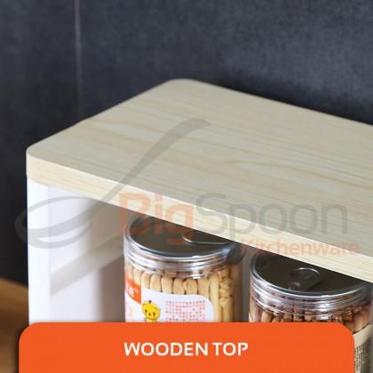BIGSPOON KS00032 Designer Solid Wood Top 4-Tier Slim Sliding Storage Rack Shelf Narrow Space Saver with Wheels Multipurpose Kitchen Trolley Organizer Cart Organiser Rak Dapur for Kitchen Toilet Bathroom Shampoo Bottle Shelves