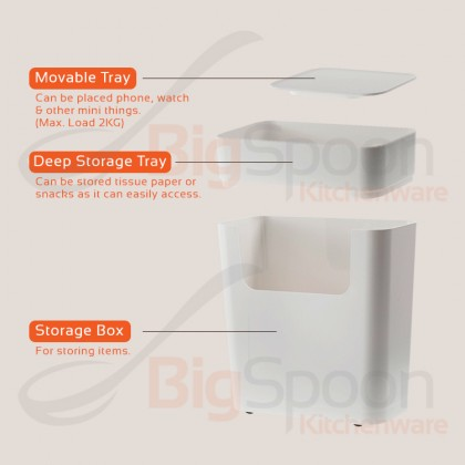 BIGSPOON SB00033 Designer 2-Tier Narrow Storage Box Large Capacity with Tray and Wheel Sofa Side Cabinet Coffee Table ABS Plastic Slim Sliding Rack Multipurpose Space Saver for Tissue Paper Books Magazines Living Room Bedroom Toilet Bathroom