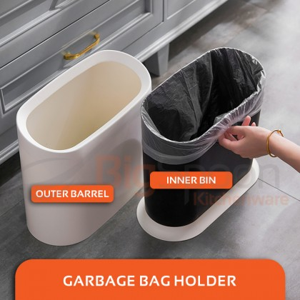 BIGSPOON GB00035 Nordic Style Designer 10L Small Dustbin with Garbage Bag Holder Waste Bin Without Lid ABS PP Plastic