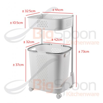 BIGSPOON LB00036 Designer Premium Quality 2-Tier Large Laundry Basket with Wheel Thickened PP Plastic Double Layer