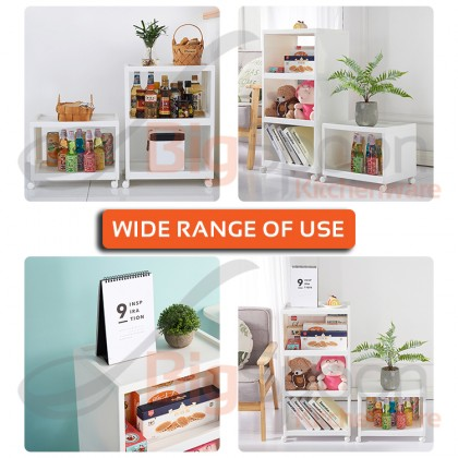 BIGSPOON KO00040 Designer 2/3/4-Tier Shelf Cabinet with Wheel Strong Bearing Shelves Trolley Extra Stable Open Storage