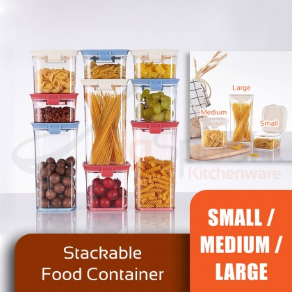 BIGSPOON FS00043 430ml/680ml/1200ml Stackable Air Tight Seal Food Container Clear Plastic Storage Small Fridge Food Jar