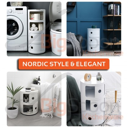 BIGSPOON BS00046 Nordic Style Premium Quality 2-Tier Round Cabinet Shelving Unit Sliding Door ABS Plastic Large Capacity