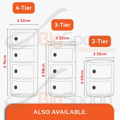 BIGSPOON BS00048 Nordic Style Premium Quality 4-Tier Round Cabinet Shelving Unit Sliding Door ABS Plastic Large Capacity