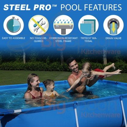 BIGSPOON BESTWAY 56401 STEEL PRO 221 x 150 x 43cm Frame Swimming Pool Rectangular Pool No Need Pump Kolam Renang Besar