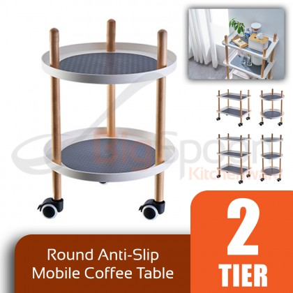 BIGSPOON CT00049 Scandinavian 2/3-Tier Round/Rectangle Anti-Slip Mobile Sofa Side Coffee Table Trolley Tray Cart Multipurpose Trolly with Wheels