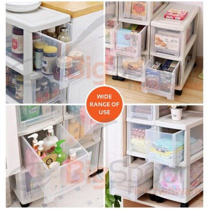 BIGSPOON SS00053 2-Tier High Quality Narrow Space Saver Plastic Drawer Storage Cabinet with Wheels Slim Spacing Saving Organiser Transparent Trolley