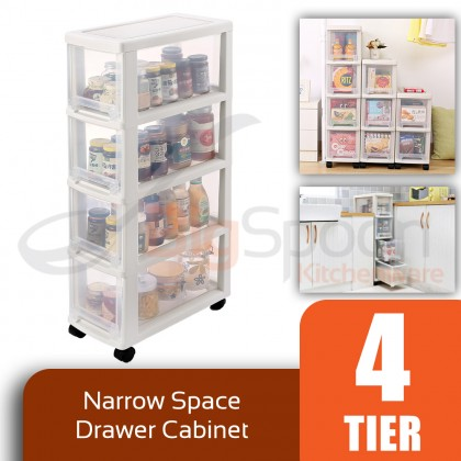 BIGSPOON SS00055 4-Tier High Quality Narrow Space Saver Plastic Drawer Storage Cabinet with Wheels Slim Spacing Saving Organiser Transparent Trolley