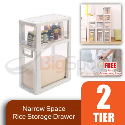 BIGSPOON SS00056 2-Tier High Quality Narrow Space Saver Rice Storage Plastic Drawer Container Measuring Cup Slim Spacing Saving Organiser Transparent