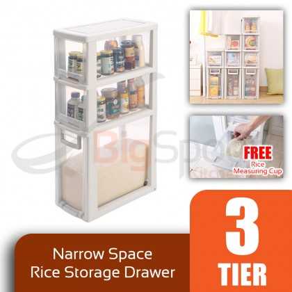 BIGSPOON SS00057 3-Tier High Quality Narrow Space Saver Rice Storage Plastic Drawer Container Measuring Cup Slim Spacing Saving Organiser Transparent