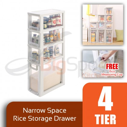 BIGSPOON SS00058 4-Tier High Quality Narrow Space Saver Rice Storage Plastic Drawer Container Measuring Cup Slim Spacing Saving Organiser Transparent
