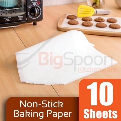 BIGSPOON BAKECRAFT 10 Sheets Set Silicone Oil Baking Paper Sheet Non-Stick Grill Paper Parchment Sheets Precut Kertas Minyak 硅油纸 [TSB-46]