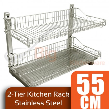 BIGSPOON 2 TIER KITCHEN RACK STAINLESS STEEL KITCHEN RACK FOR BOWL DISH CUP DRAINER RACK STAINLESS STEEL KITCHEN RACK WITH REMOVABLE TRAYS BOWL STORAGE BOWL ORGANIZER RAK MANGKUK STEEL 双层不锈钢置物架
