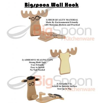 BIGSPOON PH00068 2-pcs Sticky Wall Hook Animal Kitchen Bathroom Magic Hook Self-Adhesive Heavy-Duty Firm Hanging Waterproof Key Holder