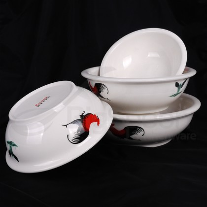 BIGSPOON 4-Pcs Ceramic Bowl CNY Soup Noodle Bowl Set Mangkuk 陶瓷碗  Rice Bowl Microwave Safe Chinese New Year 汤碗 Rooster Design 8 inch 9 inch 10 inch 11 inch