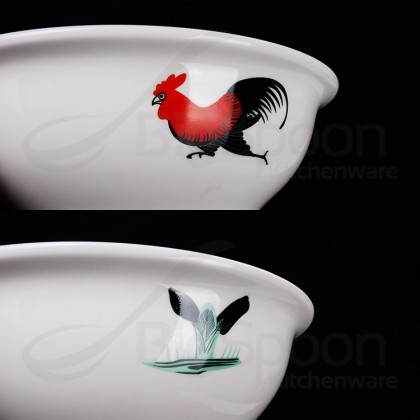 BIGSPOON Ceramic Bowl CNY Soup Noodle Rice Microwave Bowl Mangkuk 陶瓷碗 Chinese New Year 汤碗 Rooster Design 8 inch [RS-SB8]