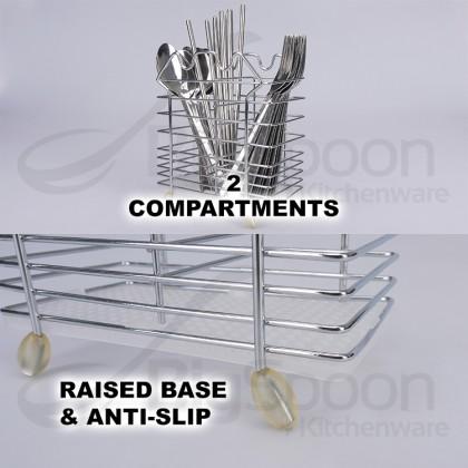 BIGSPOON 2-Compartment Hanging Cutlery Holder Anti-Slip Chopstick Stand Drying Rack Drainer Spoon and Fork Organizer Storage Rak Sudu 餐具收纳架