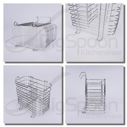 BIGSPOON 2-Compartment Hanging Spoon and Fork Organizer Stand Cutlery Holder Chopstick Drying Rack Drainer Storage Rak Sudu 餐具收纳架