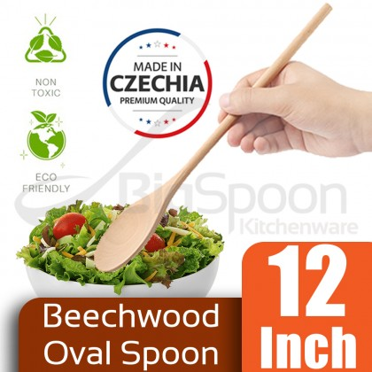 """BIGSPOON 10""""/12""""/14""""/16""""/18"""" Beechwood Spoon Long Handle Kitchen Utensils Cooking Spoons Baking Mixing Spatula Made In Czechia 捷克无漆木糕匙"""