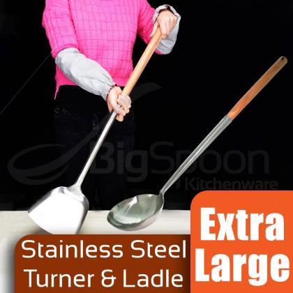 Stainless Steel Turner & Ladle With Wooden Handle Extra Large Size 特大加长不锈钢炒铲炒勺 Senduk & Sodek besar pemegang kayu YJ1001AB