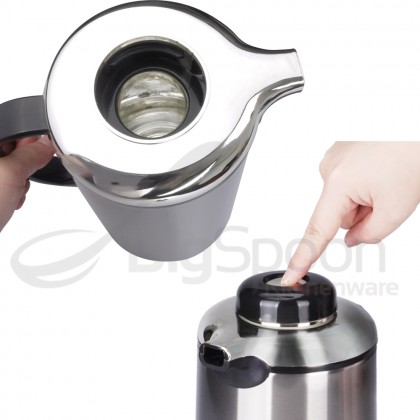 BIGSPOON 1.9L HOT WATER VACUUM FLASK GLASS INNER DOUBLE WALL STAINLESS STEEL INSULATED THERMOS POT DISPENSER 玻璃内胆保温热水瓶