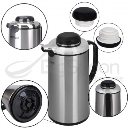 KAPPER 1.3L HOT WATER VACUUM FLASK GLASS INNER DOUBLE WALL STAINLESS STEEL INSULATED THERMOS POT DISPENSER 玻璃内胆保温热水瓶