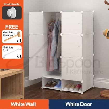 BIGSPOON DIY 6-Cube Wardrobe Cabinet 2-Slot Shoe Storage Rack Portable Cloth Hanging Closet Anti-Dust Waterproof Clothes Shoes Organizer