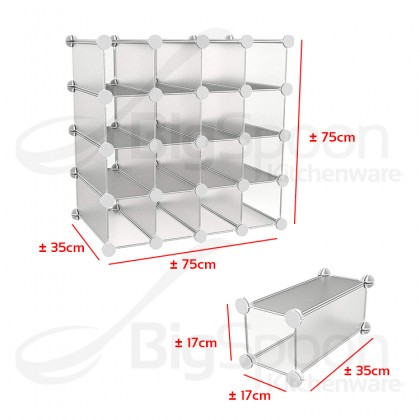 BIGSPOON DIY 16-Small-Slot Plastic Open Shoe Rack Dustproof Shoe Storage Waterproof Multipuporse Shelf Rak Almari Kasut