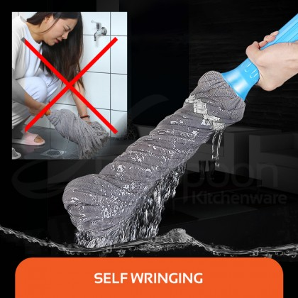 BIGSPOON Self Twisting Easy Squeeze Microfiber Mop Hand Free Self Wring Super Absorbent Cleaner with Stainless Steel Handle Mop Lantai Senang Perah Household Cleaning Tools