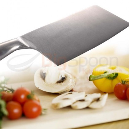 BIGSPOON 7 inch Full Stainless Steel Bone Chopping Knife Chinese Cleaver Heavy Meat Chopper 不锈钢砍骨刀切肉刀
