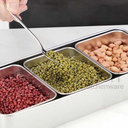 [Ready Stock] BIGSPOON 3-Grid Stainless Steel Condiment Box Spice Seasoning Box 日式三格不锈钢调味盒 [3CBS-SS]