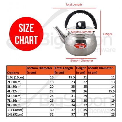 BIGSPOON 18-8 Stainless Steel 304 Harmony Whistling Kettle Multi-Sizes Cerek Air Berbunyi for Induction Cooker Stove Boiling Whistle Kettle Cooking Heating Pot