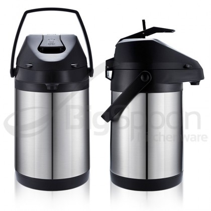 Vacuum Flask Stainless Steel Pump Server Dispenser Double Walled Vacuum Insulated Airpot Water Pot  全不锈钢保温瓶 3.0LTR [SS30HC]