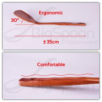 [TAIWAN] BIGSPOON Wooden Spatula Crude Wood Turner for Non Stick Pan Wok Cooking Sudip Kayu 炒菜鏟子原木锅铲