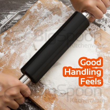 BAKECRAFT Stainless Steel Rolling Pin Non-Stick With Handle Flour Dough Roller 不锈钢搟面杖不沾棍棒