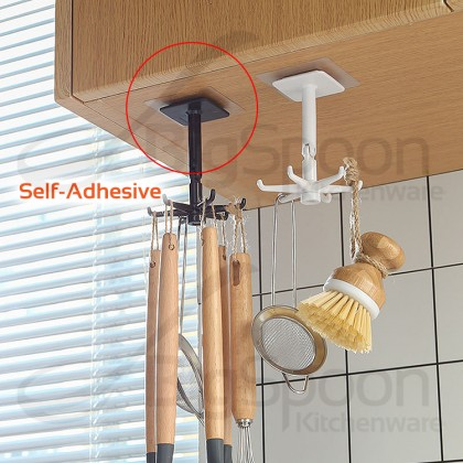BIGSPOON Rotatable Self-Adhesive Wall Hooks Adjustable Stick 6-Hook Key Holder Storage Hanging Hanger for Kitchen Bathroom Living Room Cangkuk Dinding 免釘牆壁掛钩粘貼