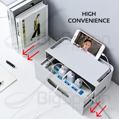 BIGSPOON Drawer-Style Cable Management Organizer Box Cord Wire Hider Power Strip Storage Organiser Kotak Wayar for USB Extension Plug Socket 電線收納盒
